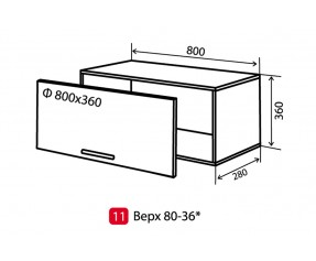 Модульная кухня maXima верх 11 в 80x36  витрина (Vip-мастер)